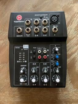 Harbinger L502 5-Channel Mixer with XLR Mic Preamp- New In B