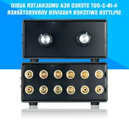 Stereo 4-IN-2-OUT RCA Audio Signal Splitter / Switcher Selec
