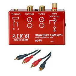 Rolls VP29 Phono Preamp with 2 RCA Male to 2 RCA Male Dual A
